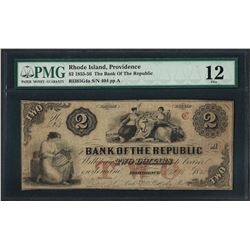 1855-56 $2 The Bank of the Republic Obsolete Note PMG Fine 12