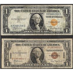 Lot of 1935A $1 Hawaii & $1 North Africa Silver Certificate WWII Emergency Notes