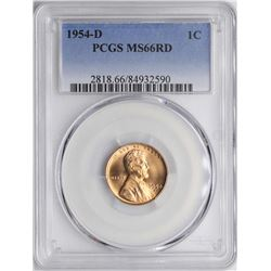 1954-D Lincoln Wheat Cent Coin PCGS MS66RD