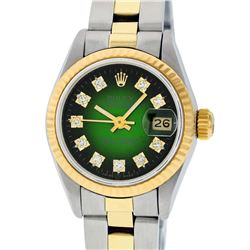Rolex Ladies Two Tone 14K Green Vignette Diamond 26MM Datejust Watch