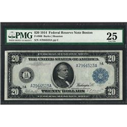 1914 $20 Federal Reserve Note Boston Fr.966 PMG Very Fine 25