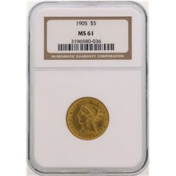 1905 $5 Liberty Head Half Eagle Gold Coin NGC MS61