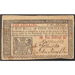 March 25, 1776 New Jersey One Shilling Colonial Currency Note