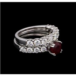 14KT White Gold 1.62 ctw Ruby and Diamond Wedding Set