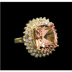 13.71 ctw Morganite and Diamond Ring - 14KT Yellow Gold