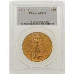 1914-D $20 St. Gaudens Double Eagle Gold Coin PCGS MS64