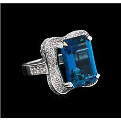 14KT White Gold 16.86 ctw Blue Topaz and Diamond Ring