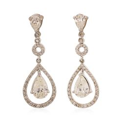 14KT White Gold 21.8 ctw Diamond Dangle Earrings