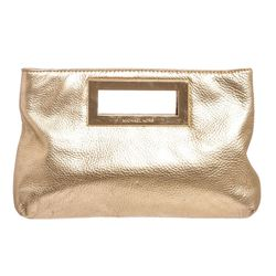 Michael Kors Pale Gold Leather Berkley Clutch Handbag