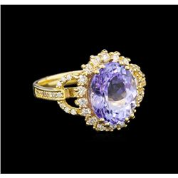 14KT Yellow Gold 4.45 ctw Tanzanite and Diamond Ring