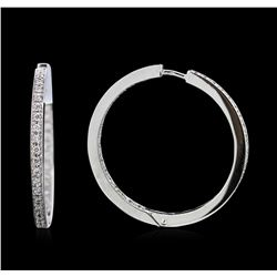 0.76 ctw Diamond Hoop Earrings - 18KT White Gold