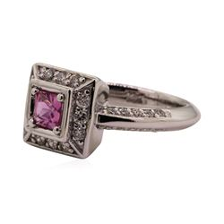 0.79 ctw Pink Sapphire and Diamond Ring - 14KT White Gold