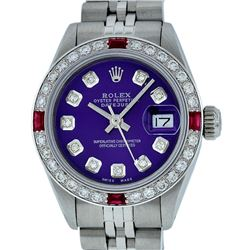 Rolex Ladies Stainless Steel Purple Diamond & Ruby 26MM Datejust Wristwatch