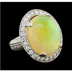 17.30 ctw Opal and Diamond Ring - 14KT White Gold