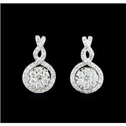 0.68 ctw Diamond Earrings - 14KT White Gold