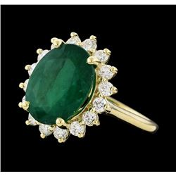 5.80 ctw Emerald and Diamond Ring - 14KT Yellow Gold