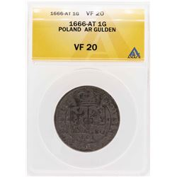 1666-AT Poland AR Gulden Coin ANACS VF20