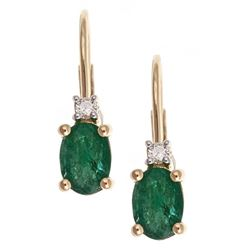 0.84 ctw Emerald and Diamond Earrings - 10KT Yellow Gold