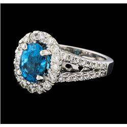 2.81 ctw Blue Zircon and Diamond Ring - 14KT White Gold