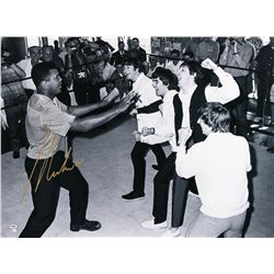 Muhammad Ali with The Beatles - Black and White Print
