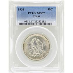 1934 Texas Commemorative Half Dollar Coin PCGS MS67