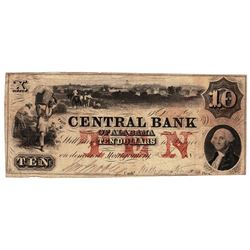 1850 $10 Central Bank of Alabama Obsolete Bank Note