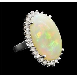 15.46 ctw Opal and Diamond Ring - 14KT White Gold