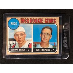 1968 Topps #247 Johnny Bench/Ron Tompkins Rookie Card Reds