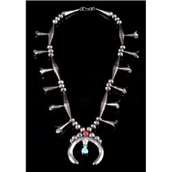 Navajo Old Pawn Sterling Squash Blossom Necklace