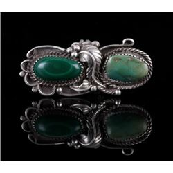 Navajo Old Pawn Malachite Turquoise Sterling Ring