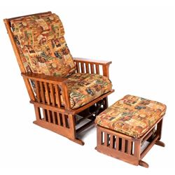 Towne Square Oak Glider Rocking Chair w/ Footstool