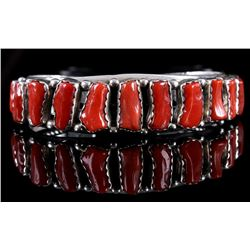 Signed Navajo Heavy Sterling & Branch Coral Cuff