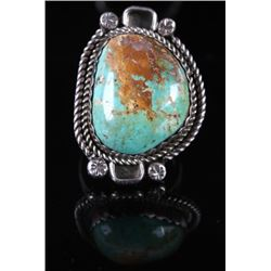 Signed Navajo Old Pawn Royston Turquoise Ring