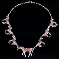 Signed Zuni Sterling Inlaid Mosaic Horse Necklace