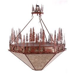 Rustic Pine and Animal Silhouette Chandelier
