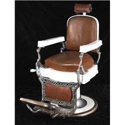 Koken Porcelain and Leather Barber Chair 1920-