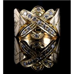 Heavy Mid-Century 18k Gold & Diamond Ring