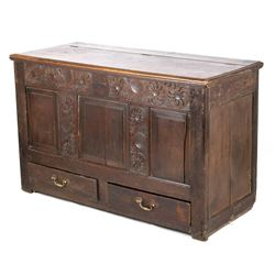 Jacobean Hand Carved Blanket Chest c. 1820