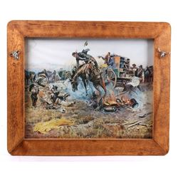 1912 C.M. Russell Bronc to Breakfast Framed Print