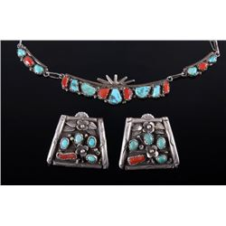 Navajo Turquoise & Coral Old Pawn Jewelry Set