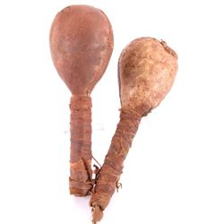 Early Plains Indian Buffalo Hide Rattle Set of Two