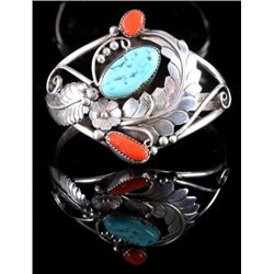 Signed Navajo Floral Sterling & Multistone Cuff
