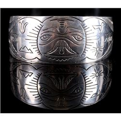 Haida NW Indian Sterling Silver Engraved Cuff