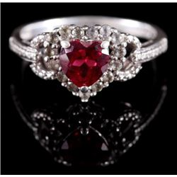 Sterling Silver, Heart Cut Ruby, & Diamond Ring