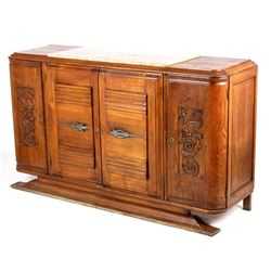 Antique Carved Oak Marble Top Sideboard Buffet