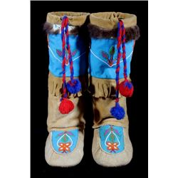 Northwest Coast Beaded High-Top Moccasins