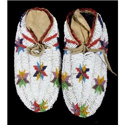 Lakota Sioux FULLY Beaded Indian Moccasins c. 1900