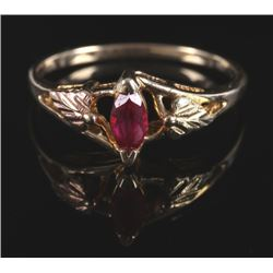 12 Karat Black Hills Gold & Pink Ruby Ring