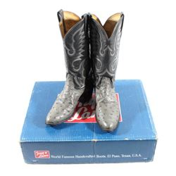 Tony Llama Gray Ostrich Leather Cowboy Boots