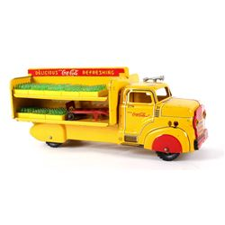 1950's Metal Coca-Cola Yellow Toy Delivery Truck